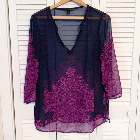 Ann Taylor Tops - Ann Taylor Navy & Purple Sheer Boho Lotus Tunic S